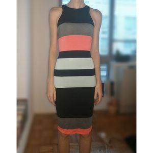 Express Striped Body Con Knee-Length Dress